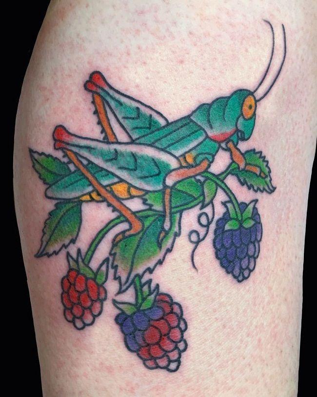 'Grasshopper with Raspberries' Tattoo