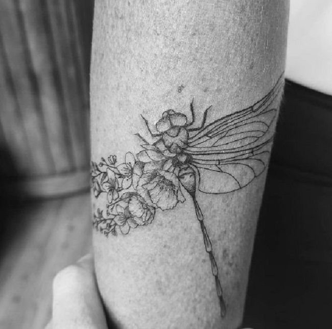 ' Half Dragonfly and Half Flower Wings' Tattoo