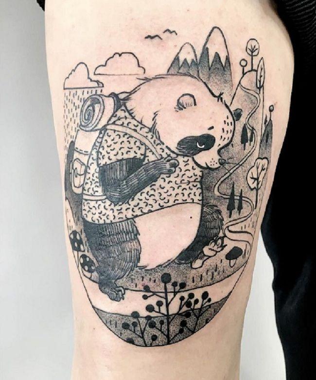 Hiking- Theme Panda Tattoo