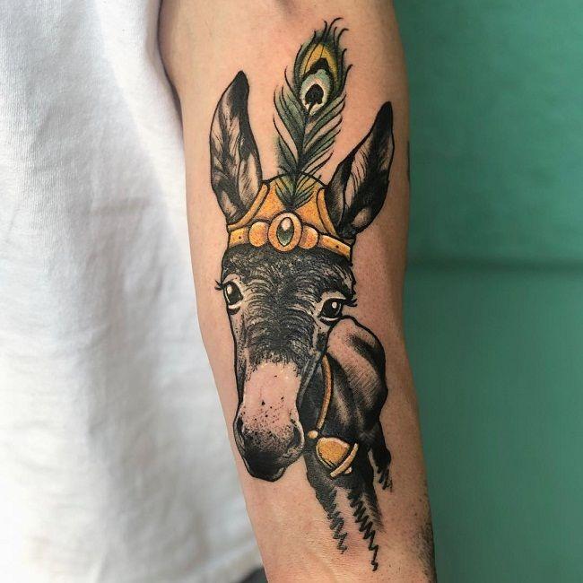 Holy-Theme Donkey Tattoo