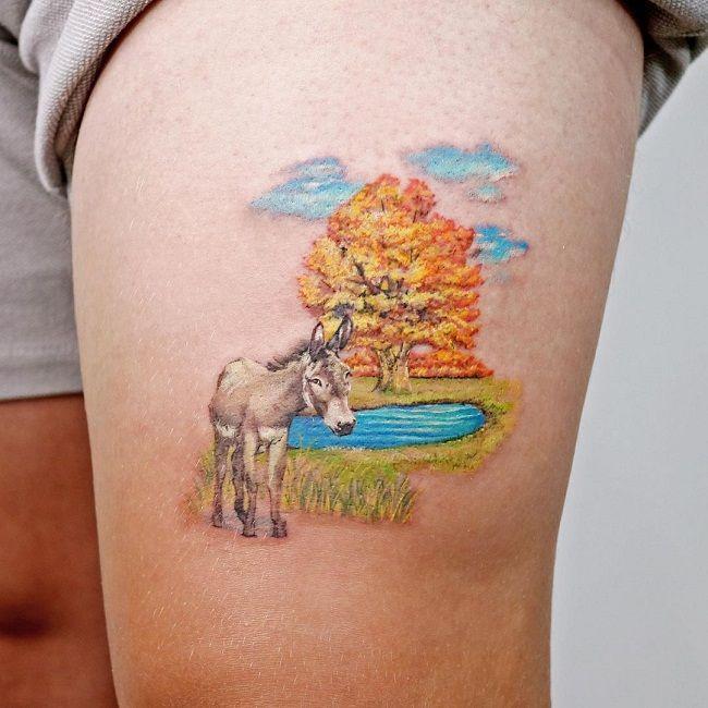 Landscape- Theme Donkey Tattoo