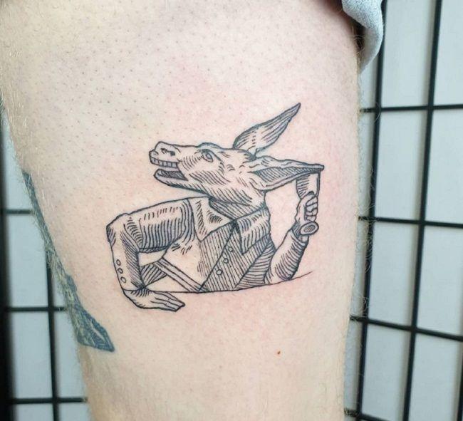 Line-Art Donkey Tattoo