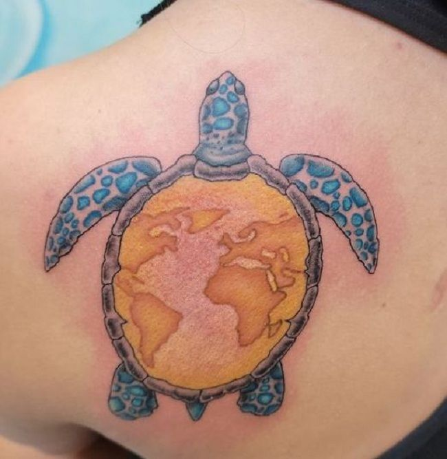 'Map on the Turtle Shell' Tattoo