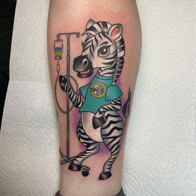 Medical-Theme Zebra Tattoo