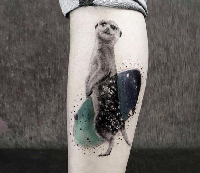 'Mongoose holding a Skateboard' Tattoo