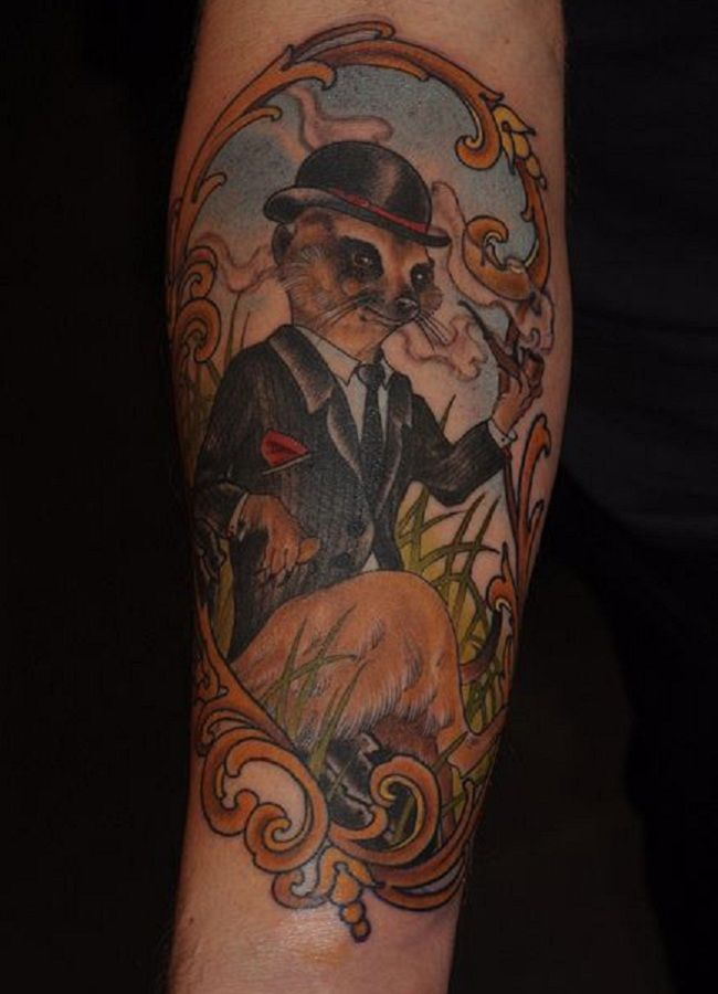 'Mongoose wearing a Hat and a Dress' Tattoo