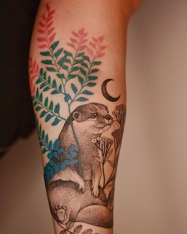 'Mongoose with Leaves and a Crescent Moon' Tattoo