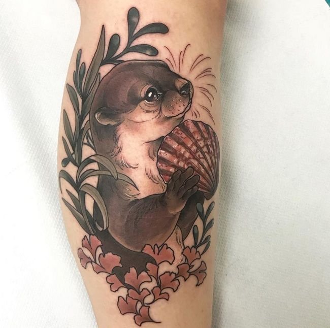 'Mongoose with Leaves and a Seashell' Tattoo