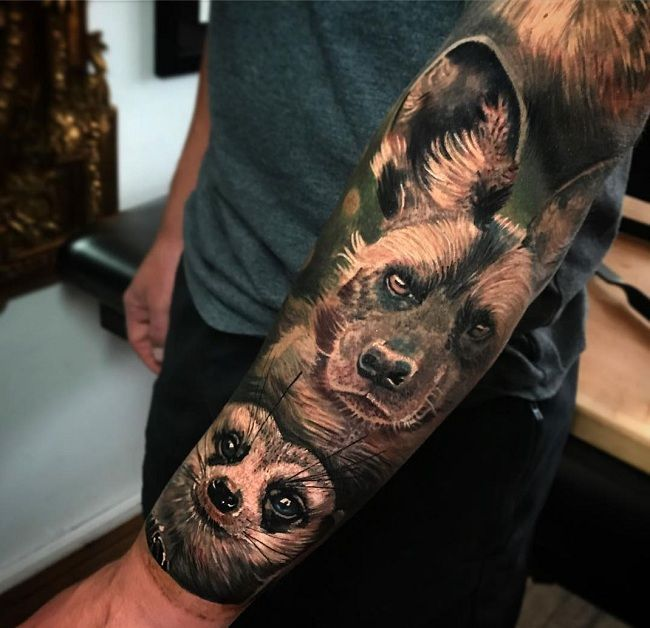 'Mongoose with a Wild-dog' Tattoo