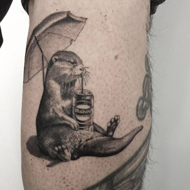 'Mongoose with an Umbrella and a Soft-Drink Can' Tattoo
