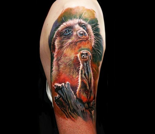 'Mother with Baby Mongoose' Tattoo