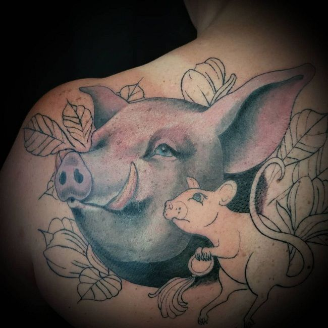 'Mother with Baby Pig' Tattoo