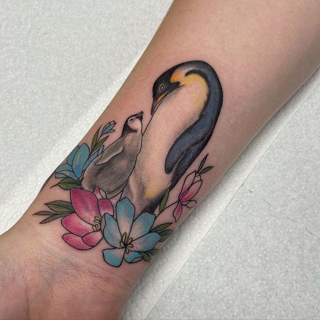 'Mum and Baby Penguin' Tattoo