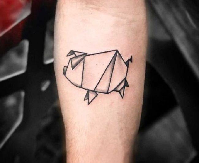 Origami Pig Tattoo