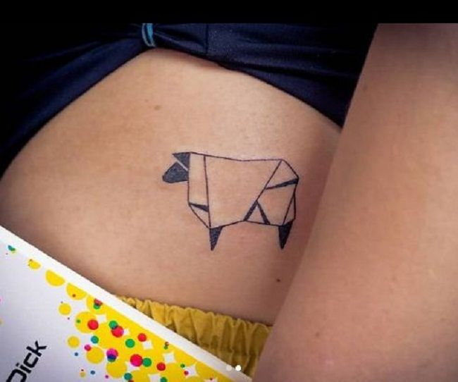Origami Sheep Tattoo