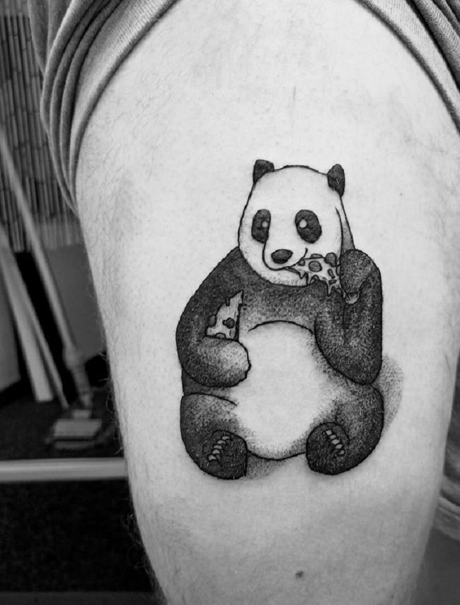 'Panda eating Pizza' Tattoo