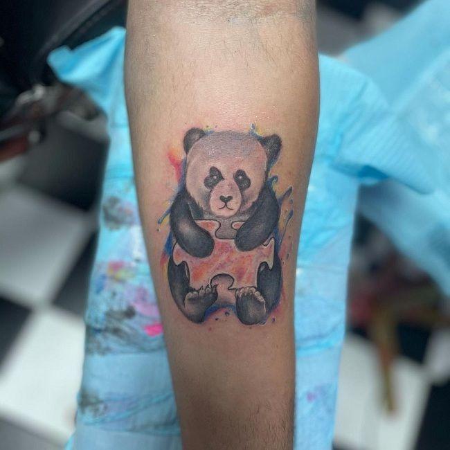 'Panda holding a Block' Tattoo