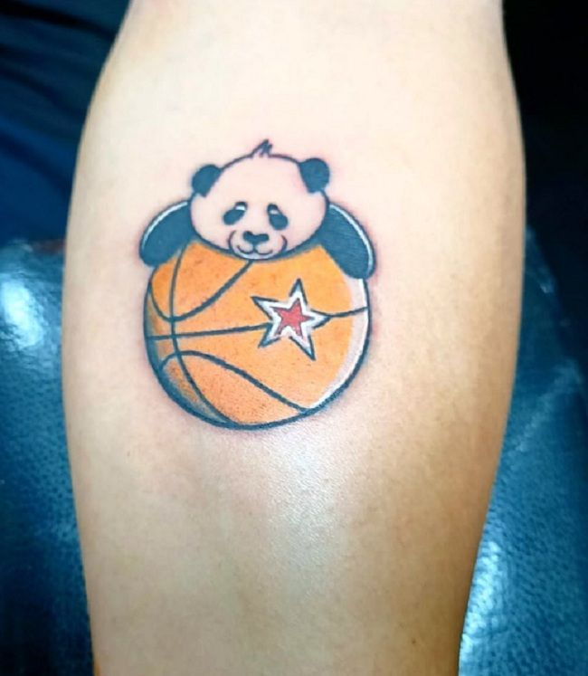'Panda over a Basketball' Tattoo