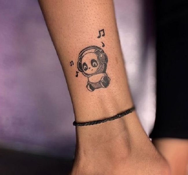 Panda wearing Headphone Tattoo