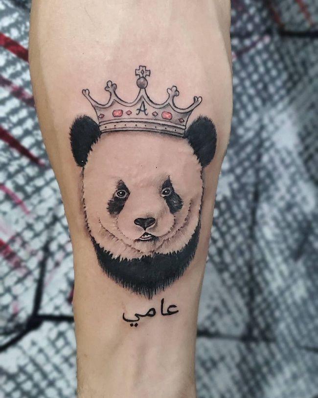 'Panda wearing a Crown' Tattoo