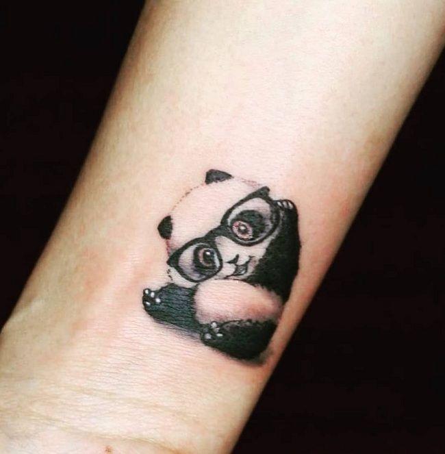 'Panda with Eyeglasses' Tattoo