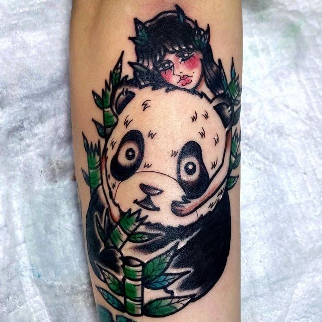'Panda with The Lady' Tattoo