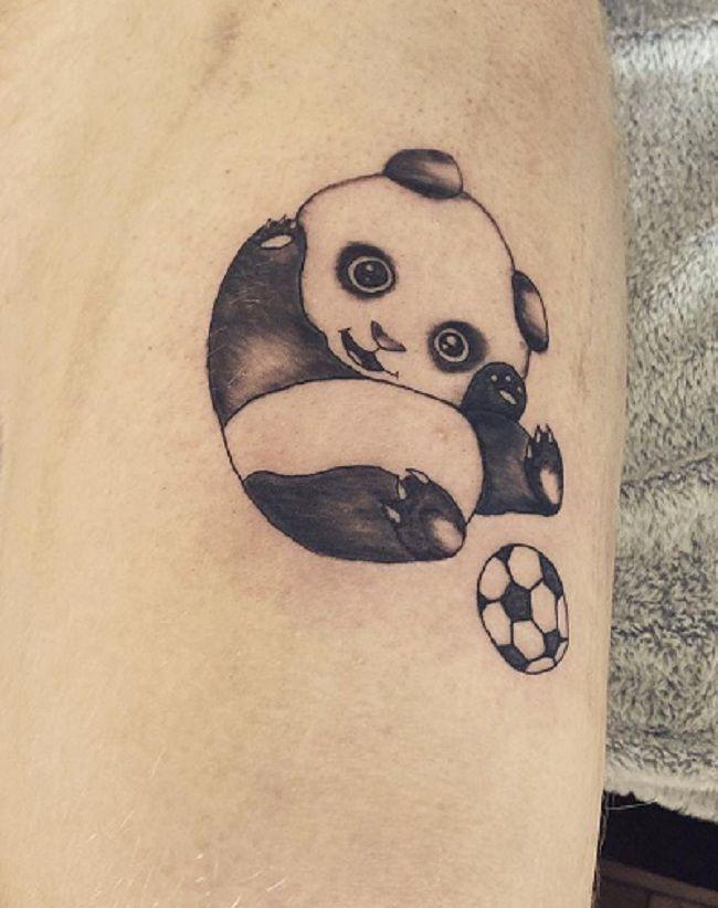 'Panda with a Football' Tattoo