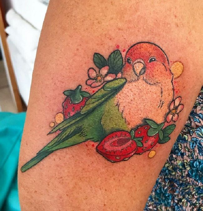 'Parrot with Strawberries' Tattoo