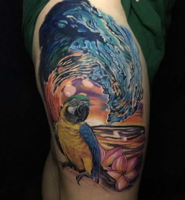 'Parrot with Wave' Tattoo