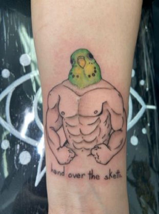 'Parrot with a Man Body' Tattoo