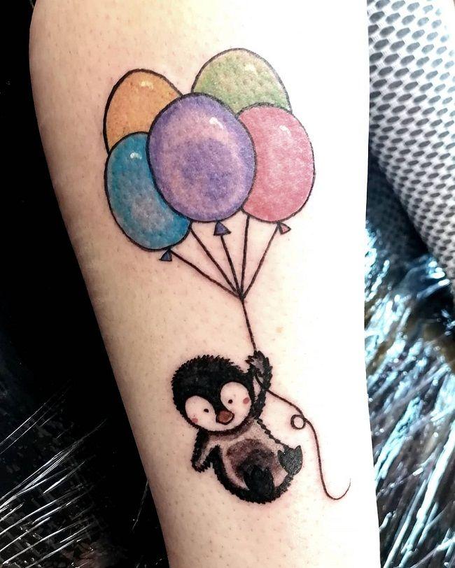 'Penguin holding Balloons' Tattoo