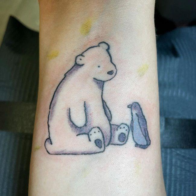 'Penguin with Bear' Tattoo