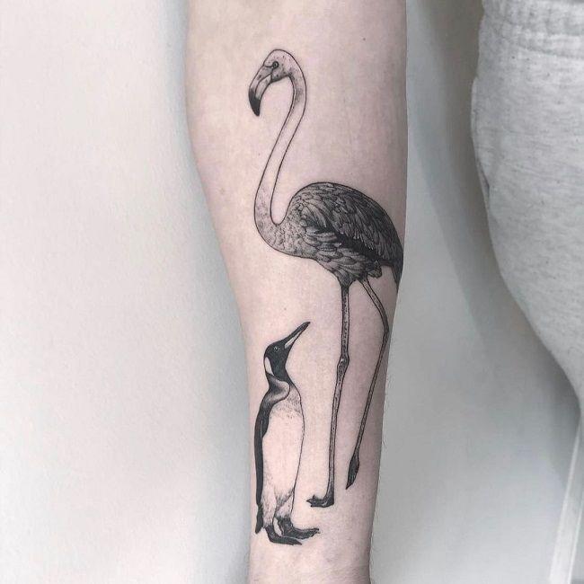 'Penguin with Flamingo' Tattoo