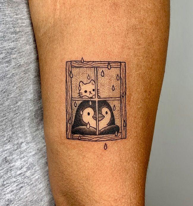 'Penguin with Kitty' Tattoo