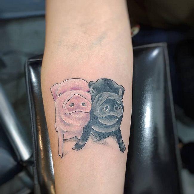 Pig Couple Tattoo