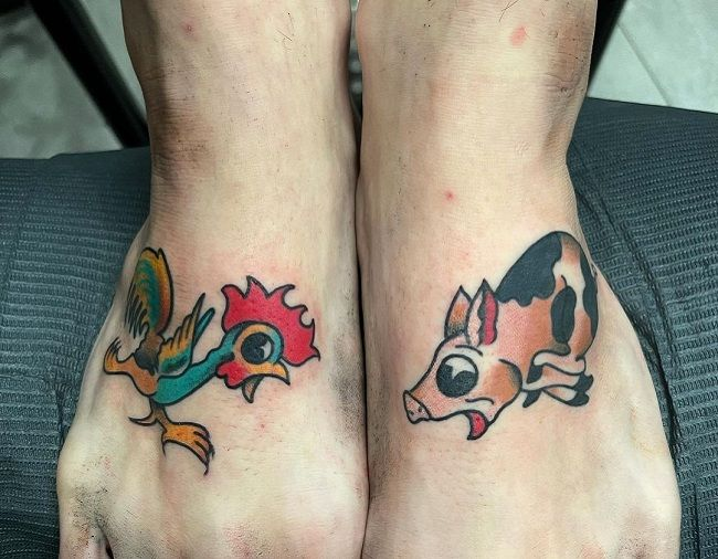 Pig- Rooster Tattoo