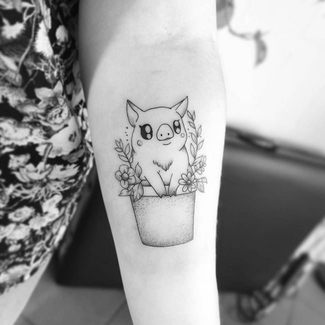 'Pig sitting over a Vase' Tattoo