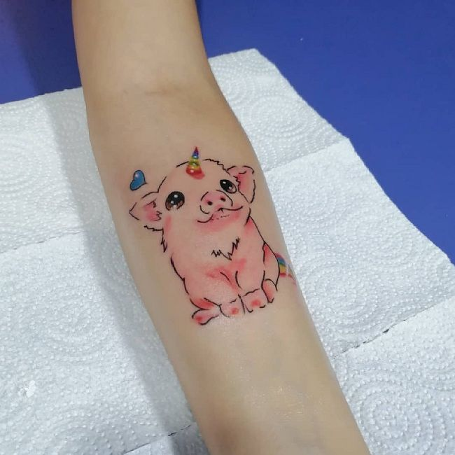 'Pig with a Unicorn Horn' Tattoo