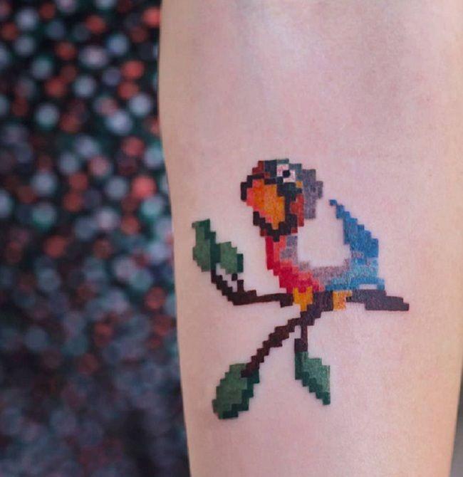 Pixel Parrot Tattoo