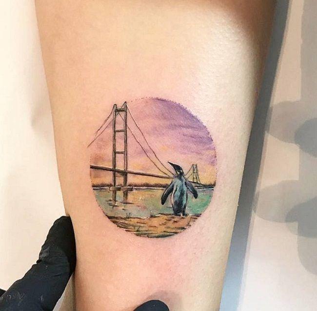 Potrait Penguin Tattoo
