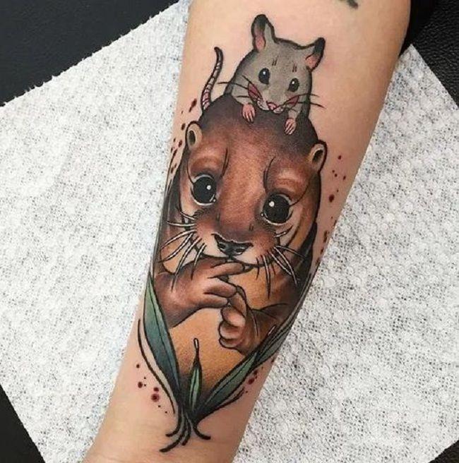 'Rabbit sitting on a Mongoose' Tattoo