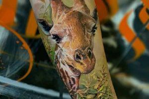 Realistic Giraffe Tattoo