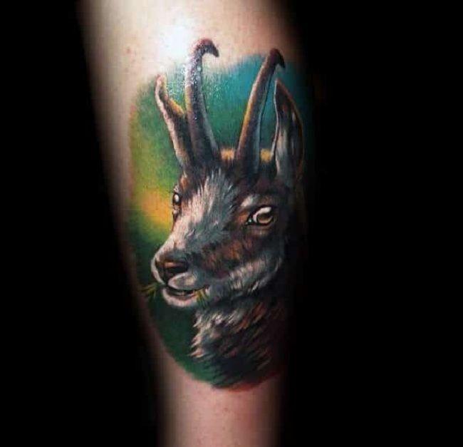 Realistic Goat Tattoo