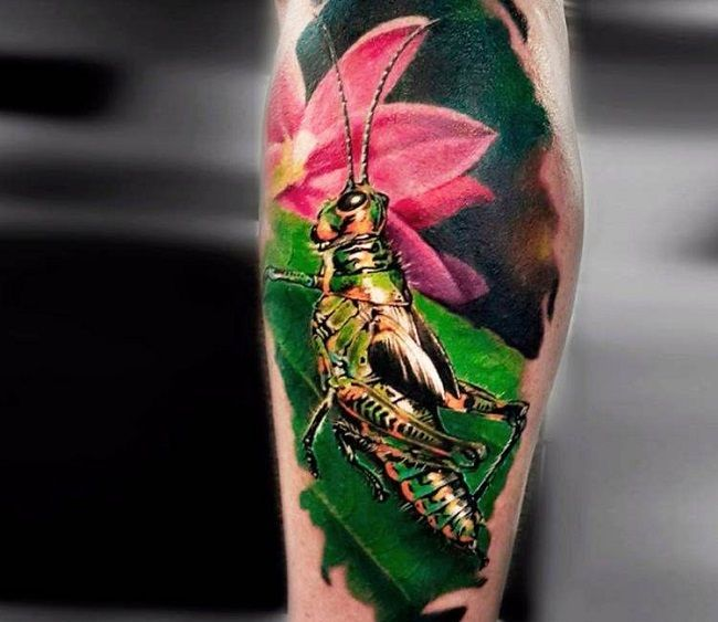 Realistic Grasshopper Tattoo