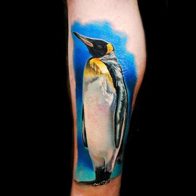 Realistic Penguin Tattoo