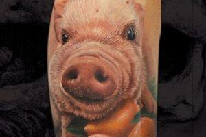 Realistic Pig Tattoo