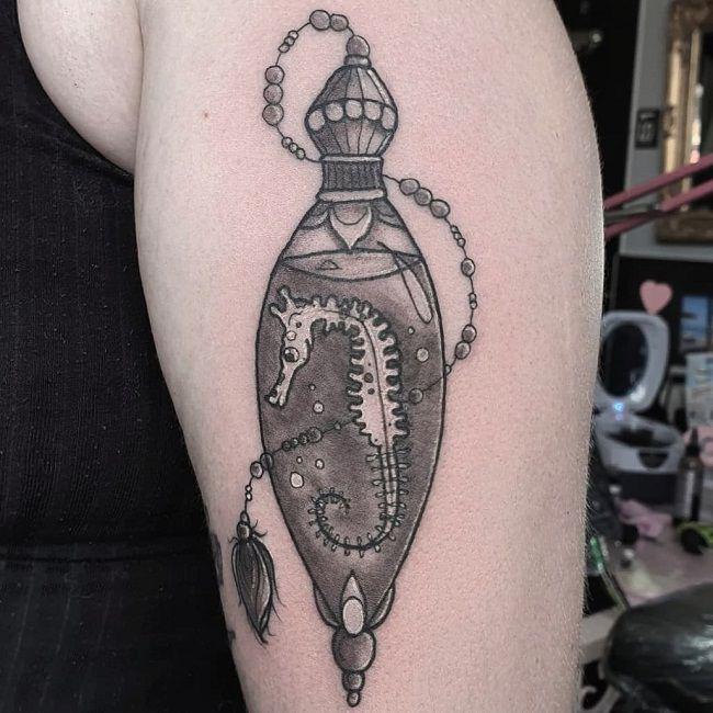 'Seahorse inside a Potion Bottle' Tattoo