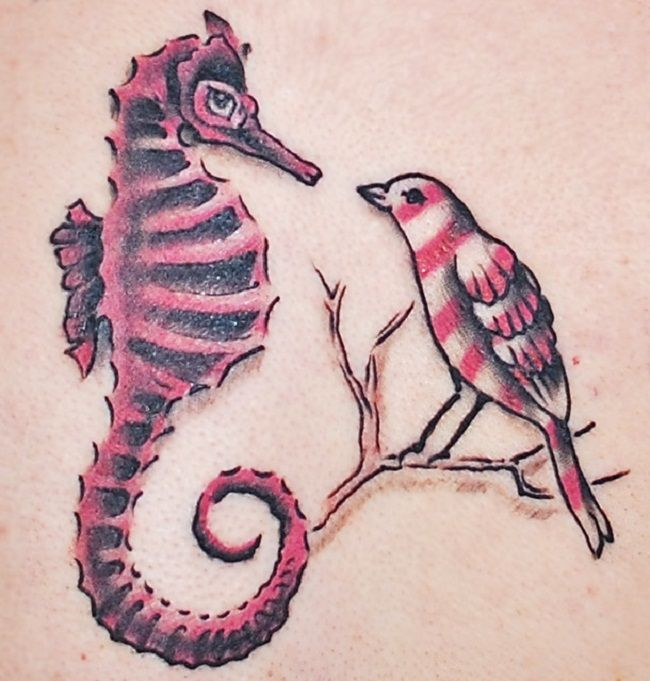 Seahorse with a Bird' Tattoo