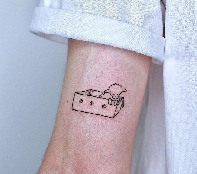 'Sheep in a Box' Tattoo