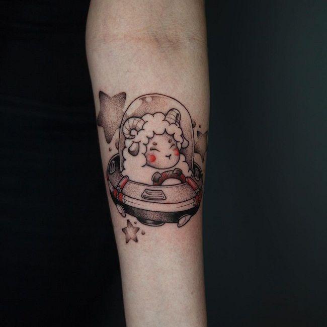 'Sheep inside a UFO' Tattoo